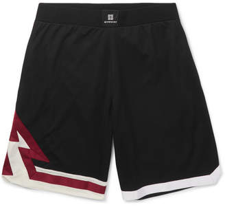 Givenchy Wide-Leg Grosgrain-Trimmed Mesh Shorts