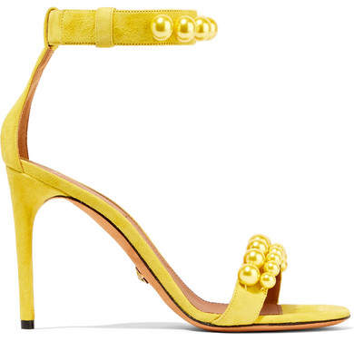 Givenchy - Faux Pearl-embellished Suede Sandals - Bright yellow