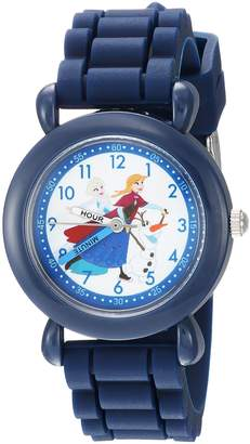 Disney Boy's 'Frozen Elsa' Quartz Plastic and Silicone Casual Watch, Color: (Model: WDS000228)
