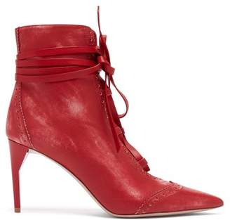 Miu Miu Point Toe Lace Up Leather Ankle Boots - Womens - Red