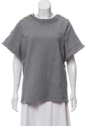 Chloé Button-Accented Knit-Accented Sweatshirt