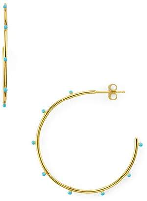 Argentovivo Enamel Studded Hoop Earrings
