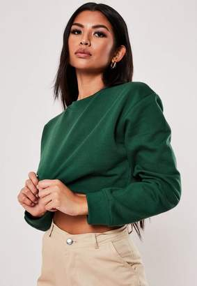 Missguided Green Cropped Sweatshirt