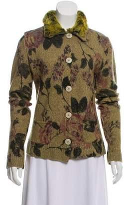 Etro Wool Faux Fur-Trimmed Cardigan