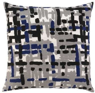 Painted Tweed Pillow - Cobalt
