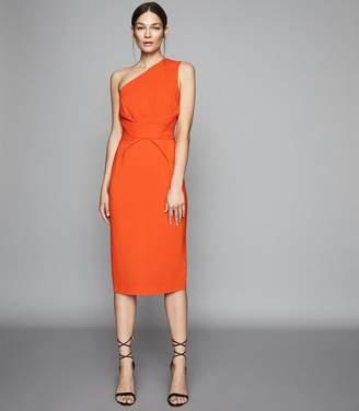 Reiss LAURENT ONE SHOULDER SLIM FIT DRESS Orange