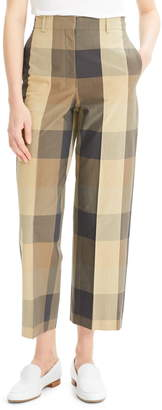 Theory Check Cotton & Silk Straight Crop Trousers