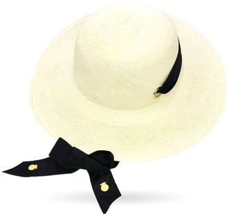 La Marqueza Hats Long Brim Sun Genuine Panama Hat With Adjustable Strap & Metallic Details
