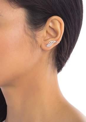 ADORNIA Sterling Silver Swarovski Crystal Winged Crawler Earrings