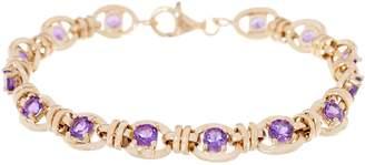 "14K Gold 7-1/4"" Gemstone Station Bracelet"