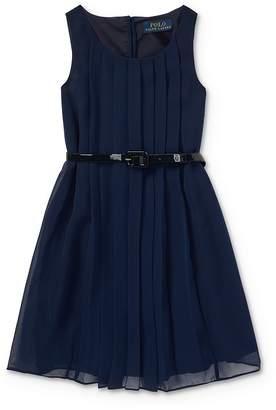 Ralph Lauren Girls' Belted Shift Dress - Little Kid