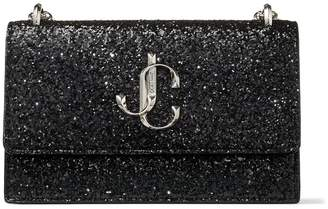 Jimmy Choo BOHEMIA Black Galactica Glitter Fabric Mini Bag with Chain Strap