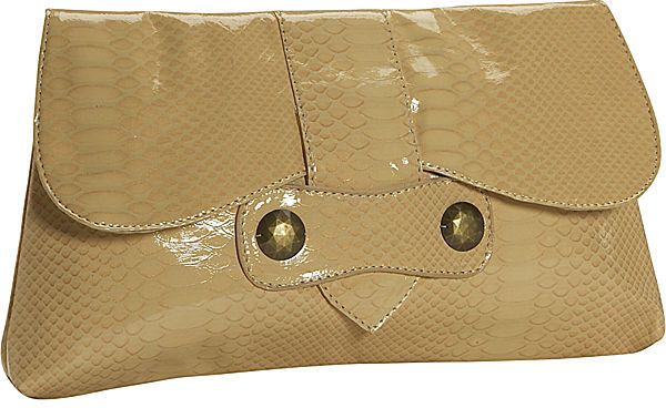 Amici Accessories Tan Oversized Snakeskin Clutch