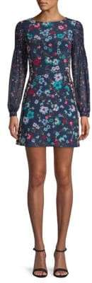 Saloni Isla Floral Silk Mini Dress
