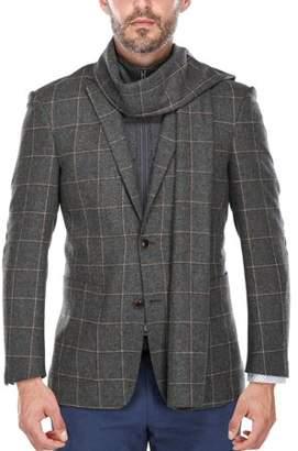 Verno Big Men's Grey and White Windowpane Pattern Wool Blazer with Scarf and Zip-up Bib