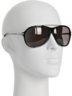 Yves Saint Laurent black plastic aviator sunglasses