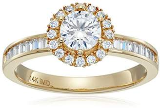 14k Cubic Zirconia Round Brilliant Halo Channel Baguette Engagement Ring