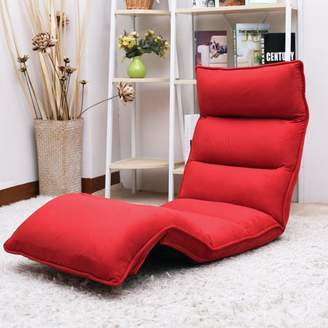 Merax Upholstered Lazy Sofa Floor Sofa Chair Folding Sofa Couch Lounger,Red