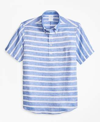 Brooks Brothers Regent Fit Horizontal Stripe Short-Sleeve Popover Sport Shirt