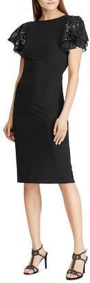 Ralph Lauren Sequined-Sleeve Cocktail Dress