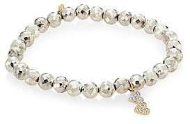 Sydney Evan Small Double Heart 14K Yellow Gold, Diamond & Pyrite Bracelet