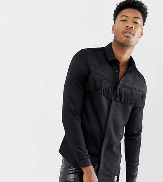 Asos Edition EDITION Tall regular fit satin shirt with fringing