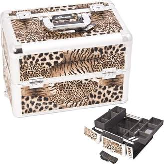9.75 inch Brown Animal Print Interchangeable E Series 3 Extendable Customize Trays Aluminum Professional Makeup Artist Travel Train Case Cosmetics Storage Tote Organizer w/Shoulder Strap