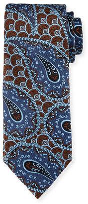 Ermenegildo Zegna Retro Paisley Woven Silk Tie, Blue $195 thestylecure.com