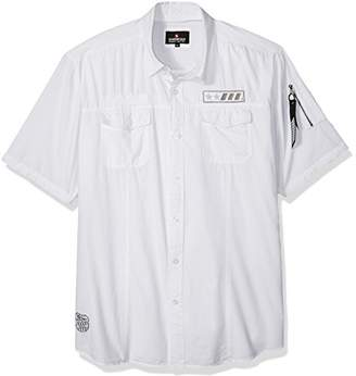 Southpole Men's Short Sleeve Button Down Woven Shirt with Patches
