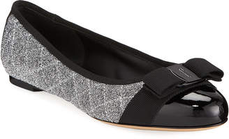 Salvatore Ferragamo Varina Q Metallic Ballet Flats with Bow