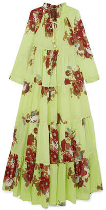 Yvonne S - Tiered Floral-print Cotton-voile Maxi Dress - Light green