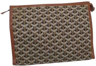 Goyard Vintage Brown Cloth Clutch Bag