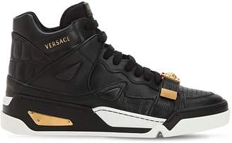 Versace Medusa Strap High Top Leather Sneakers