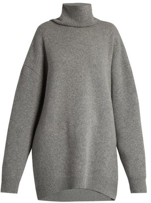 Raey Displaced Sleeve Roll Neck Wool Sweater - Womens - Grey