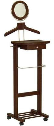 Winsome Valet Stand with Drawer on Casters, Antique Walnut