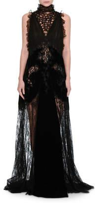 Valentino Lace & Chiffon Mock-Neck Gown with Velvet Trim, Black