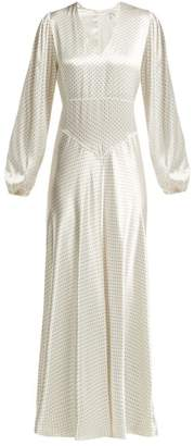 Ganni Cameron Polka Dot Satin Midi Dress - Womens - White