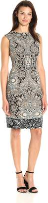 Sandra Darren Women's Extended Shoulder Printed Scuba Crepe Sheath Dress