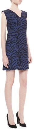 Rebecca Taylor Sleeveless Tiger-Print Shift Dress, Midnight Blue/Black