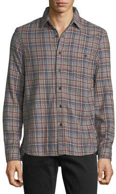 Velvet Plaid Flannel Sport Shirt