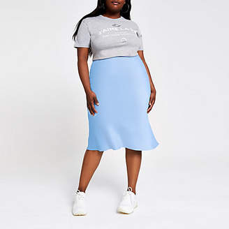 River Island Plus blue bias cut midi skirt