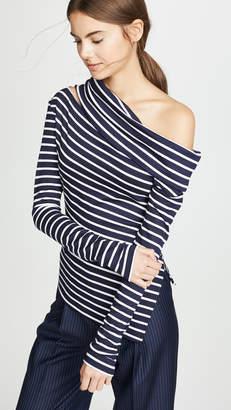 Monse Slashed Shoulder Striped Sweater