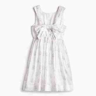 J.Crew Girls' silver floral bow-back dress