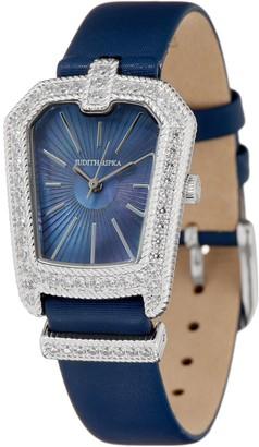 Judith Ripka Stainless Steel Deco Style Silvertone Buckle Watch