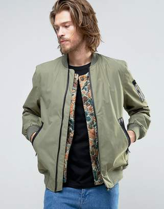Element Flight MA1 Bomber Jacket Camo Quilt Detatchable Liner in Green
