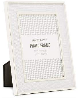David Jones Silver Plated White Linen 5 x 7 Metal Photo Frame