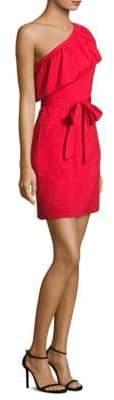 Milly Tara One-Shoulder Poplin Dress