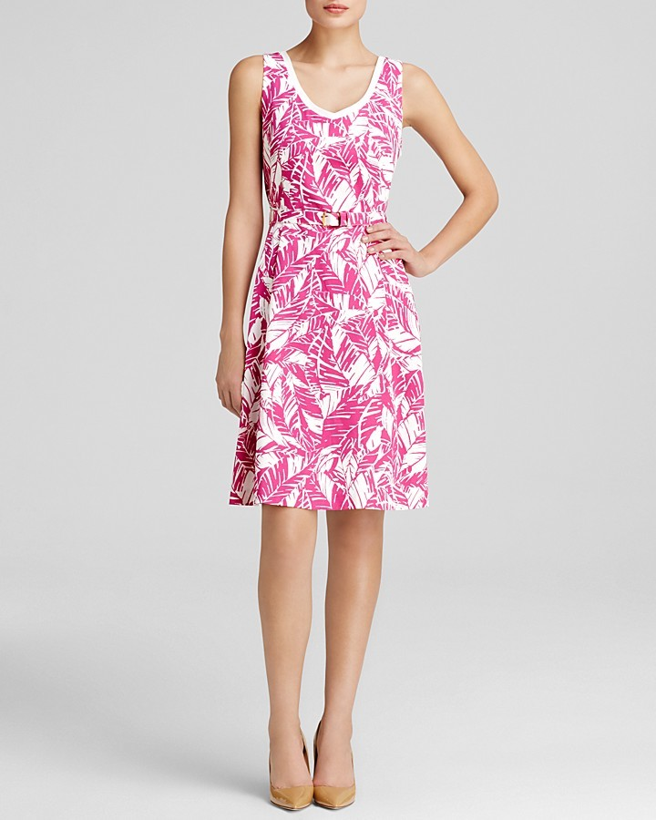 Anne Klein Dress - Sleeveless Scoop Neck Print Swing