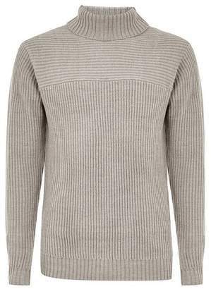 Topman Mens Grey Gray Ribbed Roll Neck Sweater