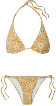 Lisa Marie Fernandez Pamela Floral-print Stretch-crepe Triangle Bikini - Yellow